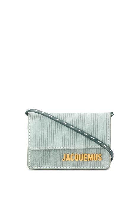 Borsa portacarte Le petit Riviera in camoscio verde con logo Jacquemus color oro JACQUEMUS | Borse a tracolla | 203SL04-309560