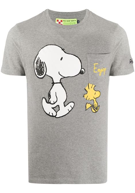 T-shirt grigia in cotone con stampa cartoon Snoopy MC2 | T-shirt | CONNOR-SNOOPY ENJOY15M