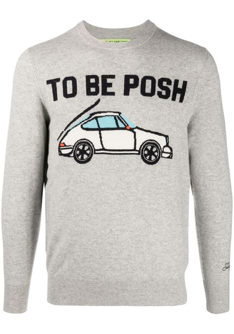 Grey cashmere  and wool blend intasrsia knit jumper featuring To be Posh black intarsia lettering MC2 |  | HERON LIGHT-BE POSH15ML