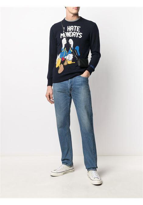 Maglione I hate mondays in maglia blu intarsio in lana e cashmere della collezione MC2 SAINT BARTH x Disney MC2   Maglieria   HERON LIGHT-MONDAY DONALD61