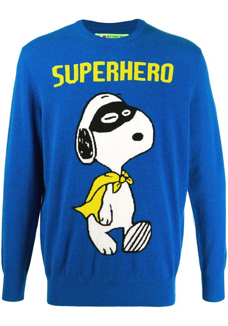 Maglia girocollo Snoopy Superhero in misto cashmere e lana multicolore blu MC2 | Maglieria | HERON LIGHT-SNOOPY HERO17