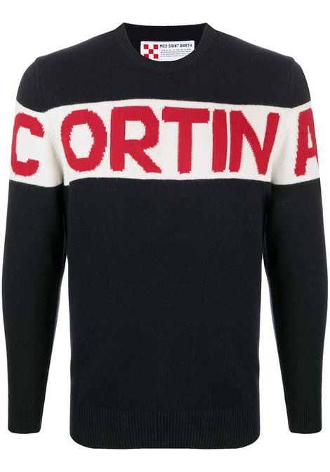 Maglia di lana e cashmere intarsiata nera, bianca e rossa con stampa a pannelli Cortina MC2 | Maglieria | HERON SKI-CORTINA STRIPE6104
