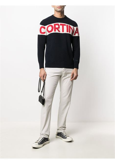 Black, white and red cashmere-wool intarsia-knit  jumper featuring Cortina panelled print MC2 |  | HERON SKI-CORTINA STRIPE6104