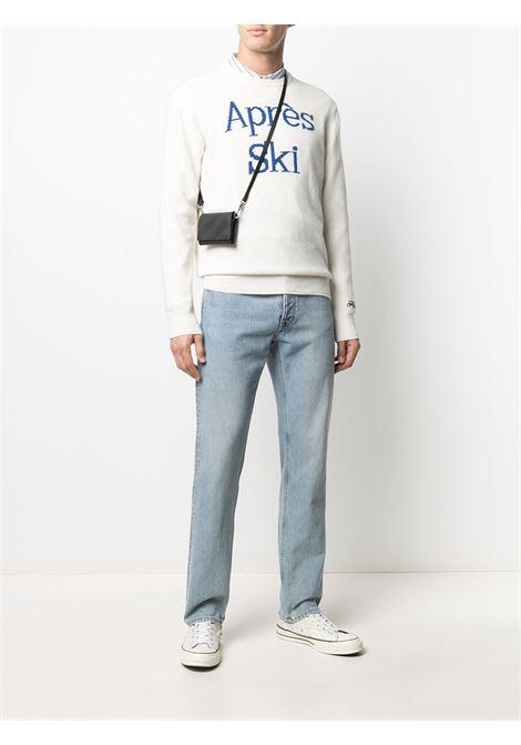 Maglia bianca in lana e cashmere intarsiata con stampa Après Ski blu MC2 | Maglieria | HERON-APRES SKI10