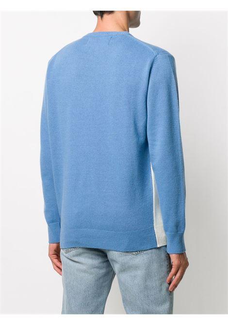 Maglione intarsiato Heron in misto lana-cashmere azzurro e bianco con stampa Cortina Apréski ricamata MC2 | Maglieria | HERON-CORTINA POSTCARD32
