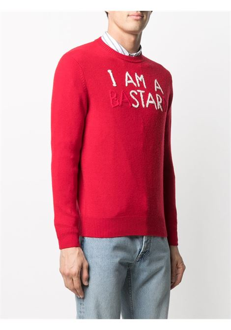 Red cashmere and wool jumper featuring I'm a bastard red and white lettering print MC2 |  | HERON-EMB ISTARD41