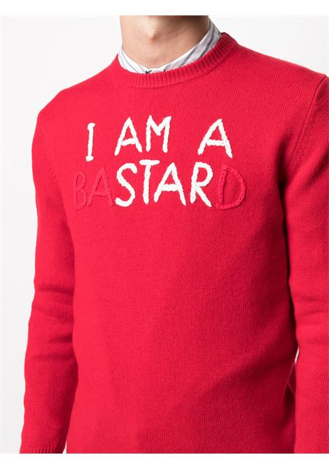 Maglia rossa in cashmere e lana con stampa scritta I'm a bastard rossa e bianca MC2   Maglieria   HERON-EMB ISTARD41