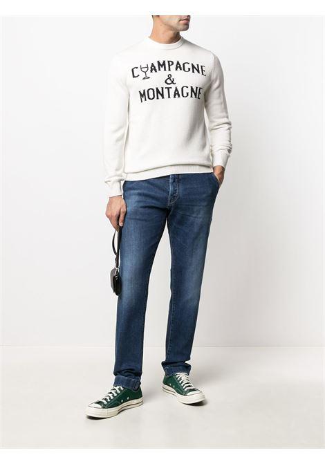 Maglia bianca in lana e cashmere intarsiata con scritta nera Champagne & Montagne MC2 | Maglieria | HERON-EMB MONCHAMP1061