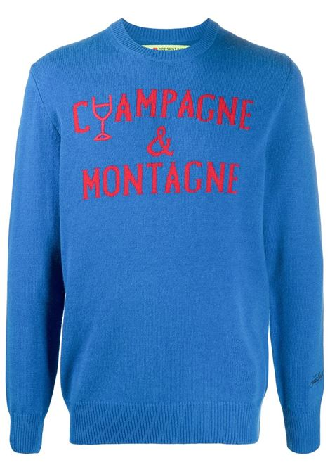 Blue wool and cashmere intarsia knit jumper featuring red Champagne&Montagne red lettering print  MC2 |  | HERON-EMB MONCHAMP1741