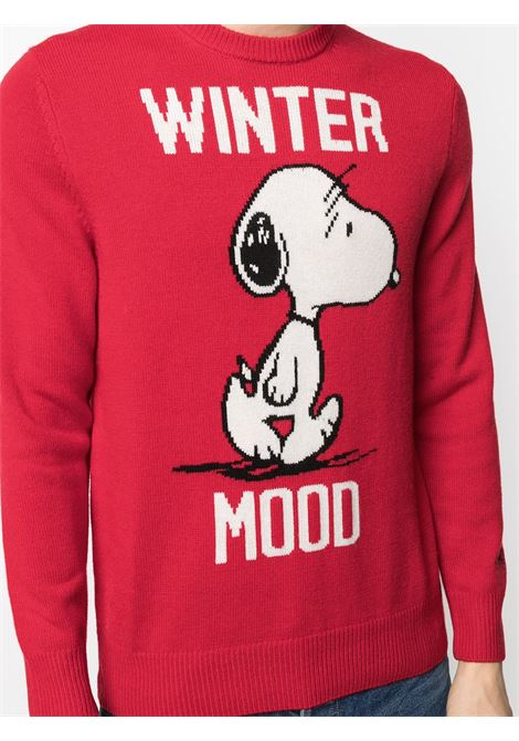 red cashmere and wool intarsia-knit jumper featuring white Winter Mood lettering and Snoopy cartoon print MC2 |  | HERON-SNOOPY WINTER41
