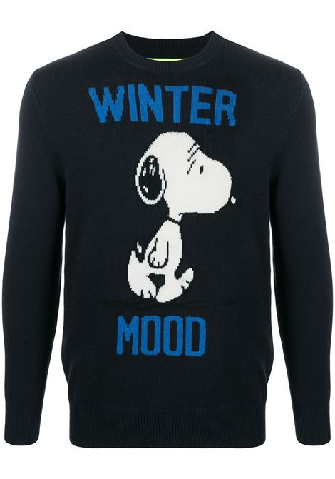 dark blue cashmere and wool intarsia-knit jumper featuring blue Winter Mood lettering and Snoopy cartoon print MC2 |  | HERON-SNOOPY WINTER61
