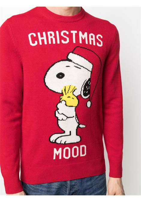 Red wool and cashmere Christmas Mood intarsia-knit jumper featuring Snoopy cartoon print MC2 |  | HERON-XMAS SNOOPY41