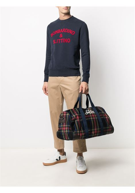 Blue holdall featuring tartan check pattern, embroidered Mc2 logo MC2 |  | JETLEG W-TARTANBLUE NAVY