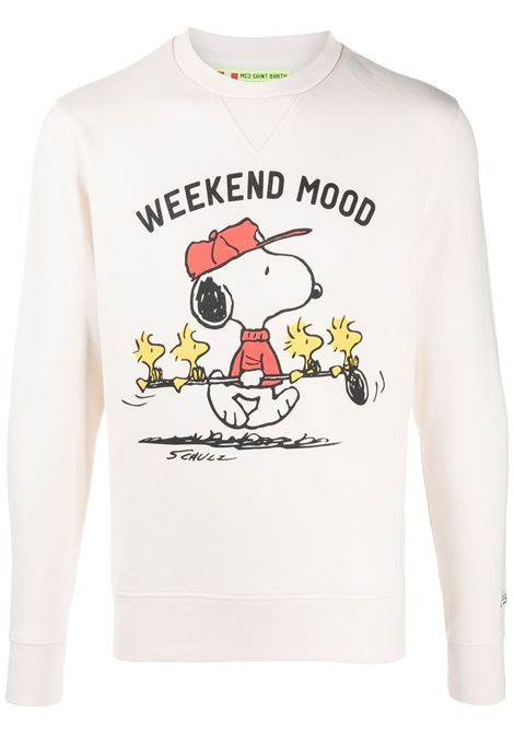 Felpa bianca in cotone con stampa Weekend Mood con Snoopy MC2 | Felpe | SOHO-GOLF MOOD11