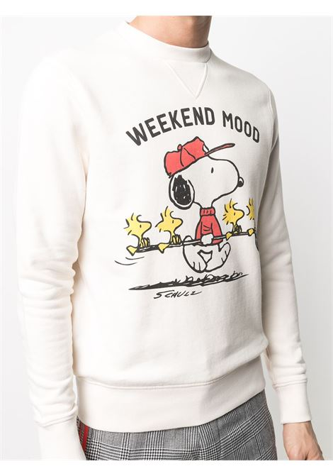 White cotton Weekend Mood print sweatshirt featuring Snoopy MC2 |  | SOHO-GOLF MOOD11