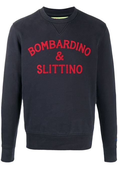 Blue cotton sweatshirt featuring flocked finish, red Bombardino & Slittino red lettering print MC2 |  | SOHO-SLITTINO61