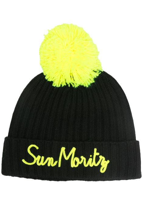 Black cashmere pompom beanie featuring Sun Mortitz fluo yellow appliqué detail MC2 |  | WENGEN P-EMB MORI0094