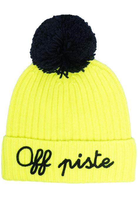 Yellow cashmere pompom beanie hat featuring Off Piste black appliqué detail MC2      WENGEN P-EMB OFF PISTE9461