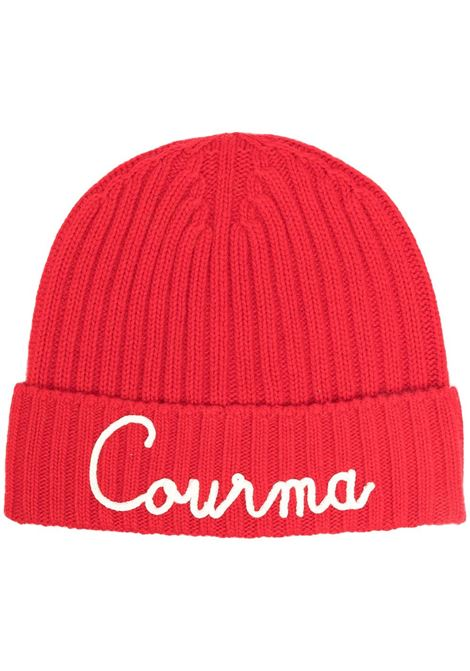 Red cashmere and wool hat featuring Courma white appliqué detail MC2 |  | WENGEN-EMB COURMA41