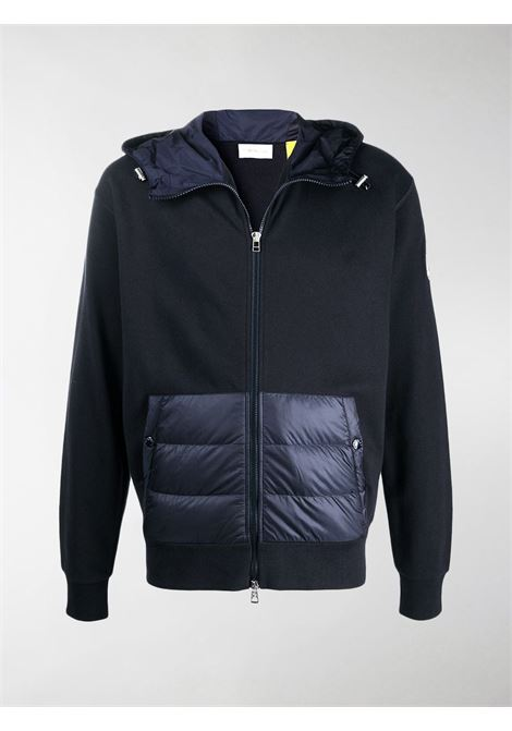 Moncler Genius x Jw Anderson blue zip-up sweatshirt with down-effect front kangaroo pocket MONCLER GENIUS |  | 8G500-00-V8198778