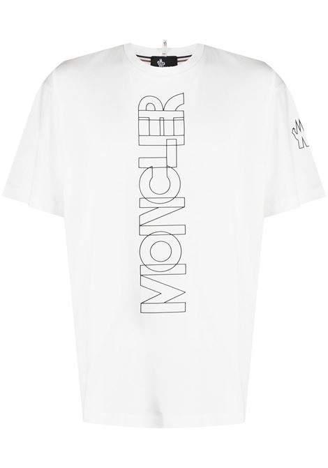 White cotton T-shirt featuring a loose fit and a printed Moncler logo to the front. MONCLER GRENOBLE |  | 8C706-10-8390T034
