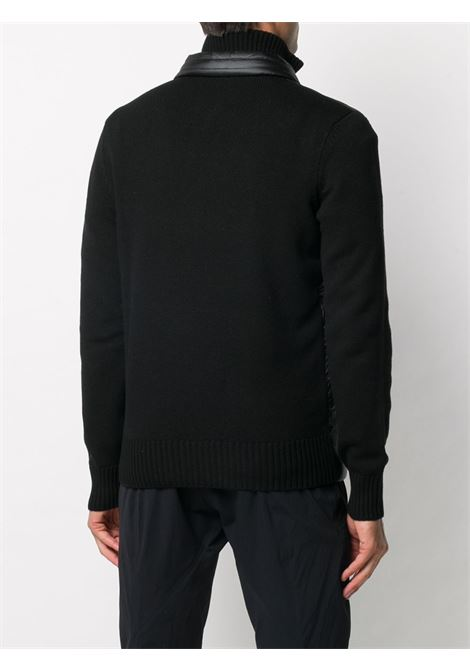 Giacca a collo alto con pannello trapuntato in misto lana nera con chiusura frontale con zip MONCLER GRENOBLE | Cardigan | 9B505-00-94778999