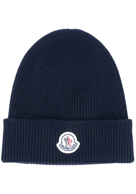 ribbed blue wool hat with Moncler front logo  MONCLER |  | 3B705-00-A9342742