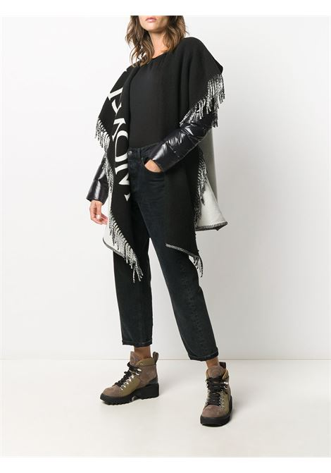 black and white wool fringed cape with nylon sleeves MONCLER |  | 3G507-00-A1045034