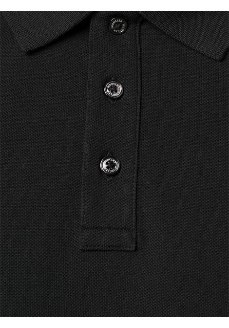 black cotton slim-fit polo shirt with side Moncler logo patch MONCLER      8A705-10-84556999