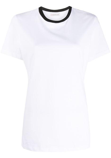 t.shirt bianca a mezze maniche con collo girocollo a contrasto nero MONCLER | T-shirt | 8C778-10-V8161001