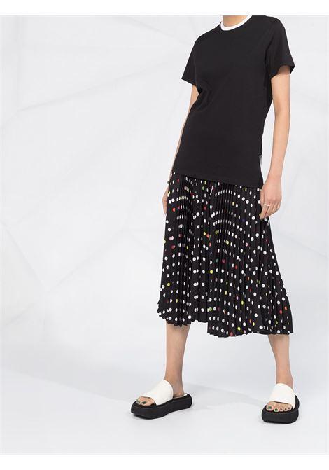 t-shirt in cotone nero con collo a contrasto bianco MONCLER | T-shirt | 8C778-10-V8161999