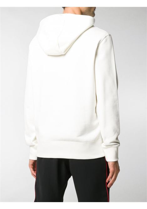 white cotton Moncler logo embroidery hoodie featuring drawstring hood MONCLER |  | 8G746-10-80985034