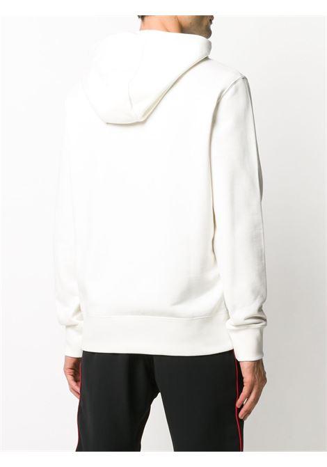 felpa con cappuccio in cotone bianco con logo Moncler ricamato con cappuccio con coulisse MONCLER | Felpe | 8G746-10-80985034