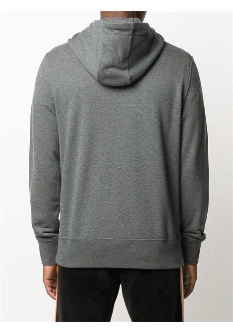 felpa con cappuccio in cotone grigio con logo Moncler ricamato con cappuccio con coulisse MONCLER | Felpe | 8G746-10-80985940