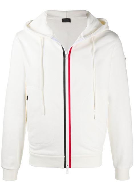 white cotton contrasting trim zipped hoodie featuring stripe trim MONCLER |  | 8G750-00-V8148038