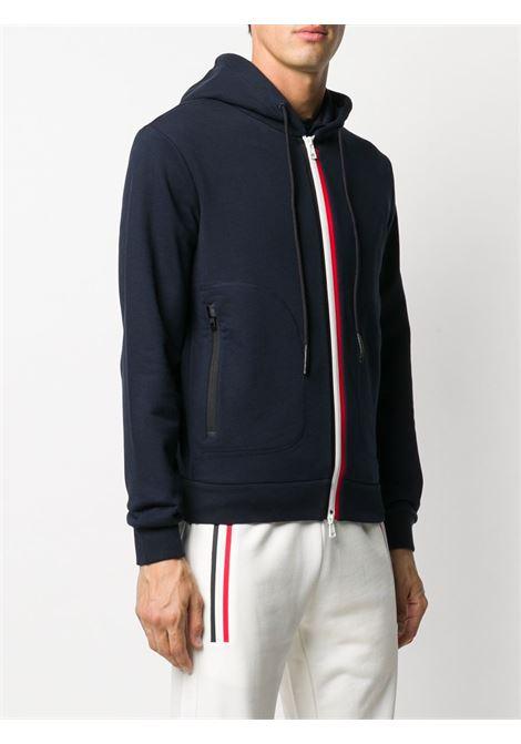 Felpa con cappuccio e zip con bordo a contrasto in cotone bianco e rosso navy a righe MONCLER | Felpe | 8G750-00-V8148778