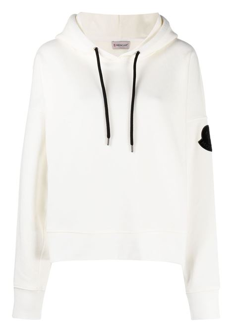 white cotton hoodie with read pantent like Moncler logo MONCLER |  | 8G752-10-V8186032