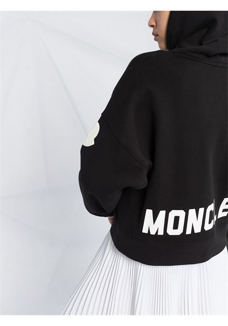 black cotton hoodie with read Moncler printed patent like logo MONCLER |  | 8G752-10-V8186999