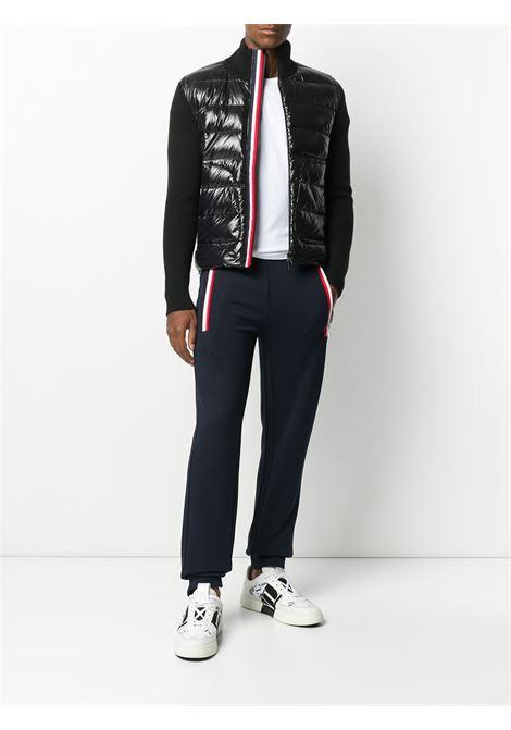 piumino nero con dettaglio a righe bianche e rosse e maniche in lana MONCLER | Cardigan | 9B519-00-A9418999