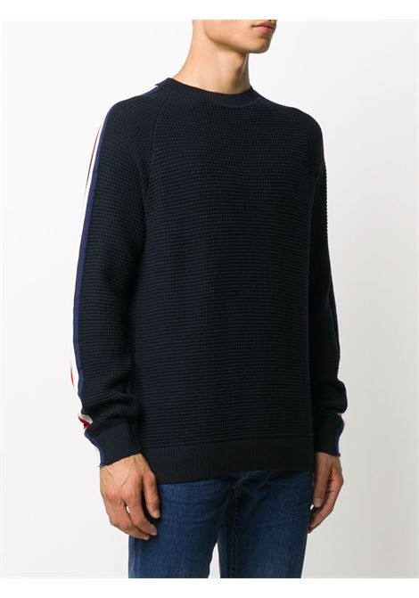 blue knitted virgin wool jumper with side multicolored logo band MONCLER |  | 9C733-00-A9364742