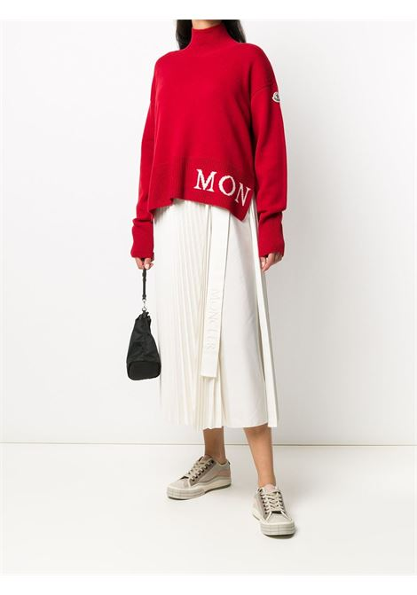red virgin wool and cachemere white intarsia Monlcer logo jumper MONCLER |  | 9F717-00-A9564457