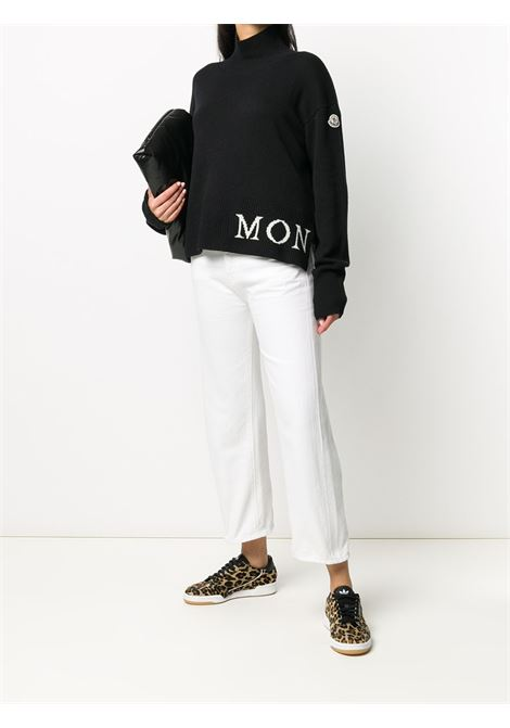 black virgin wool high neck jumper with white Moncler logo MONCLER |  | 9F717-00-A9564999