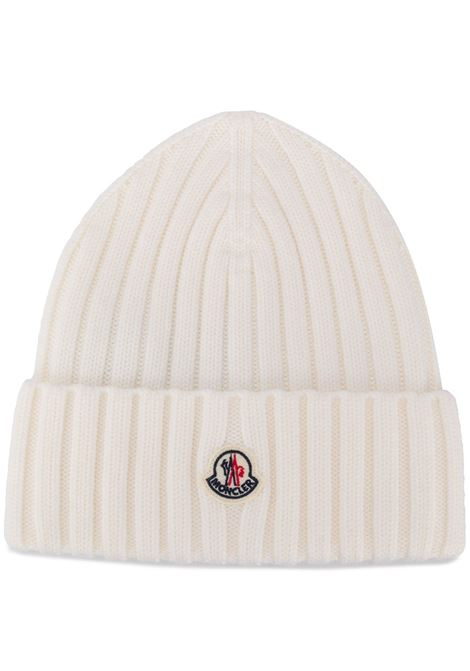 white virgin wool front Moncler logo patch beanie MONCLER |  | 9Z708-00-A9327030