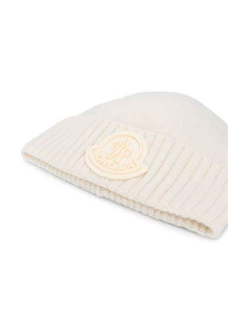 white virgin wool large Moncler logo beanie  MONCLER |  | 9Z726-00-A9524034
