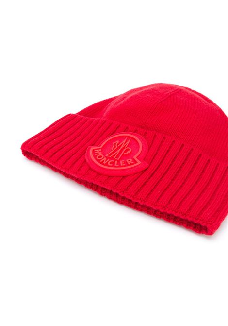 Red virgin wool oversized Moncler logo beanie hat MONCLER |  | 9Z726-00-A9524456