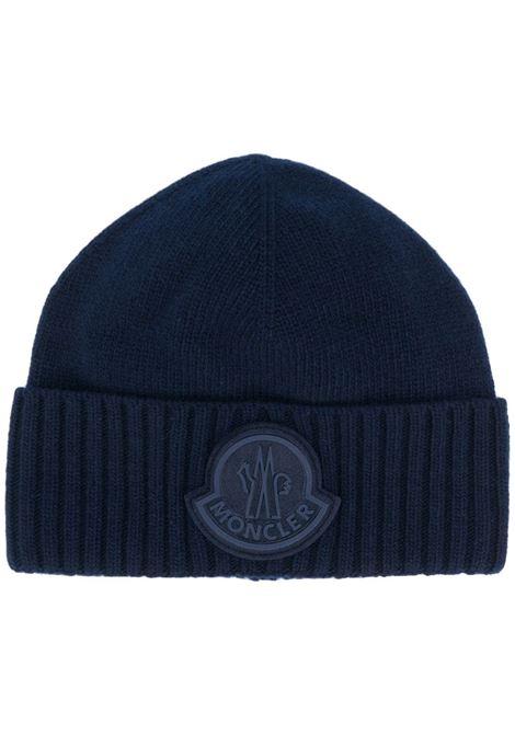 navy virgin wool oversized Moncler logo beanie   MONCLER |  | 9Z726-00-A9524778