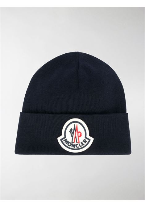 blue virgin wool beanie with maxi Moncler front logo MONCLER |  | 9Z736-00-A9526742