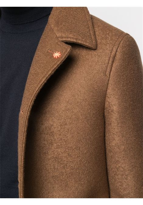 Camel-coloured virgin wool-blend single-breasted mid-length coat featuring notched lapels Manuel Ritz      2932C4518MX-20373028