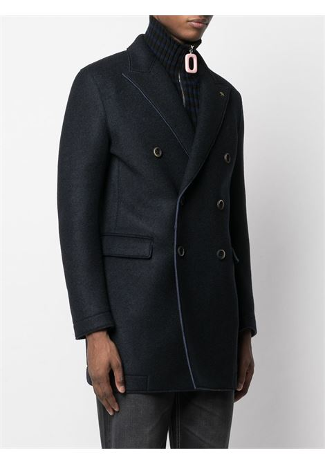 Navy blue virgin wool-blend double-breasted tailored coat featuring peak lapels Manuel Ritz |  | 2932C8504-20373789