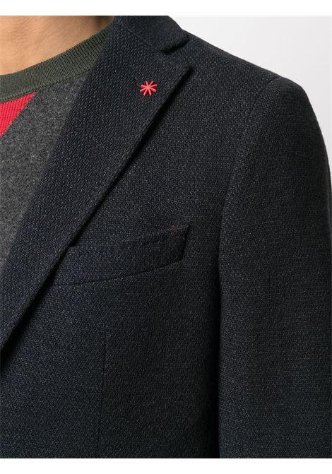 Blazer monopetto in cotone blu con tasca a filetto sul petto Manuel Ritz | Giacche | 2932G2038M-20369189